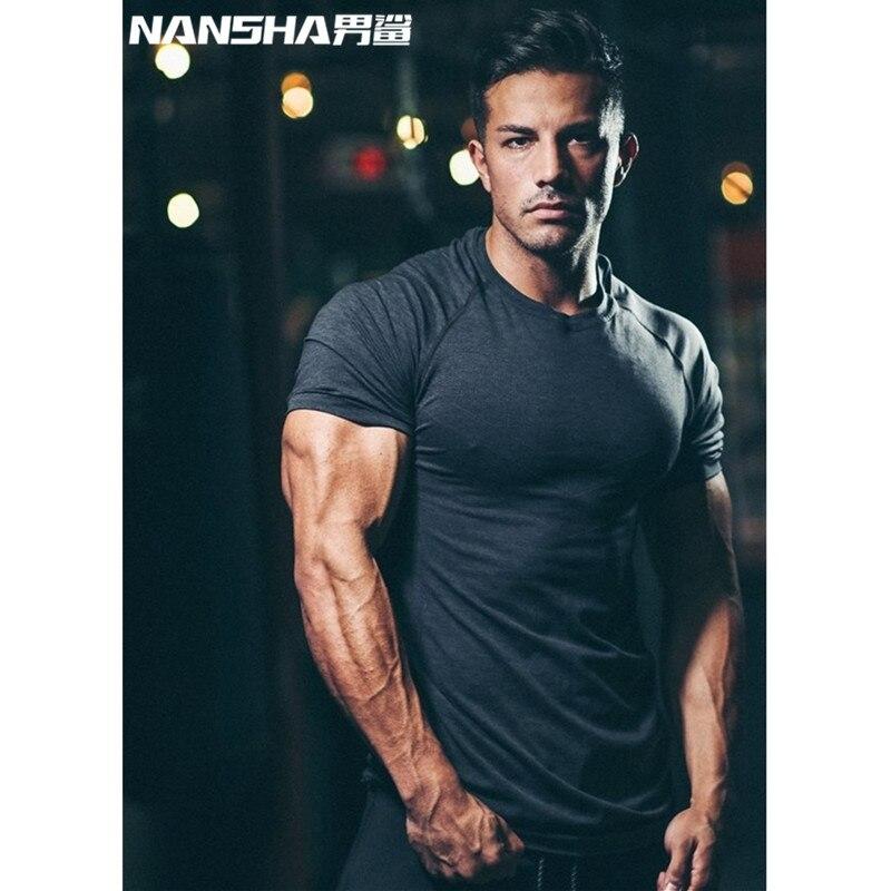 NANSHA Nuovo Stringer Tees Tops Uomini Palestre T-Shirt Bodybuilding Fitness Marca delle Magliette degli uomini Casuali degli uomini T-Shirt Vestiti