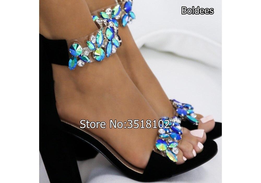 Women Ankle Wrap High Heel Sandals Open Toe Crystal Embellishment Chunky  Heels Summer Women Rhinestone Gladiator Sandals Shoes-in High Heels from  Shoes on ... ba6ba9b9783b