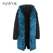 JAZZEVAR 2017 New Fashion High Quality Women's Real lamb fur hooded Liner