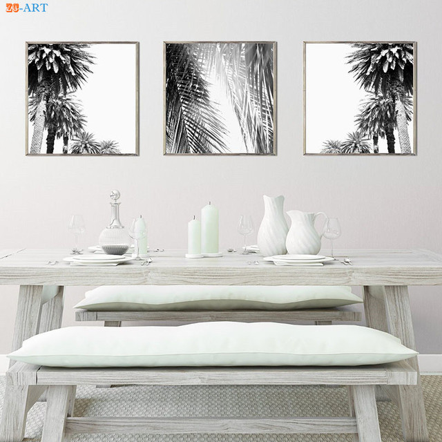 Nordic Style Palm Tree Print Wall Art Nature Poster Black And White Canvas Painting Pictures
