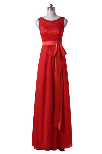 2016 Hot Sale Scoop Neck Sleeveless Lace Chiffon Long Red Bridesmaid Dresses vestidos de festa Party Gowns Custom B100