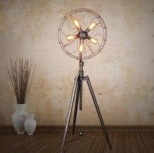 American Village Simple Living Room Bedroom Floor Lamp Iron Artistic Personality Industrial Retro Artistic Fan Floor Lamp