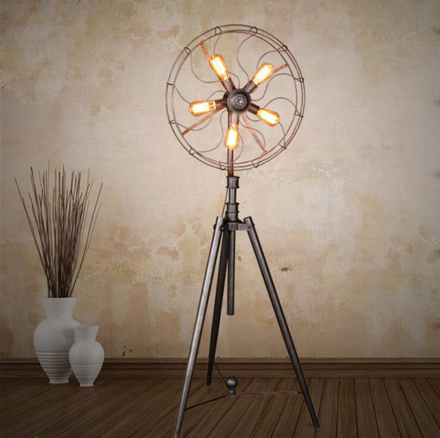 Bon American Village Simple Living Room Bedroom Floor Lamp Iron Artistic  Personality Industrial Retro Artistic Fan Floor
