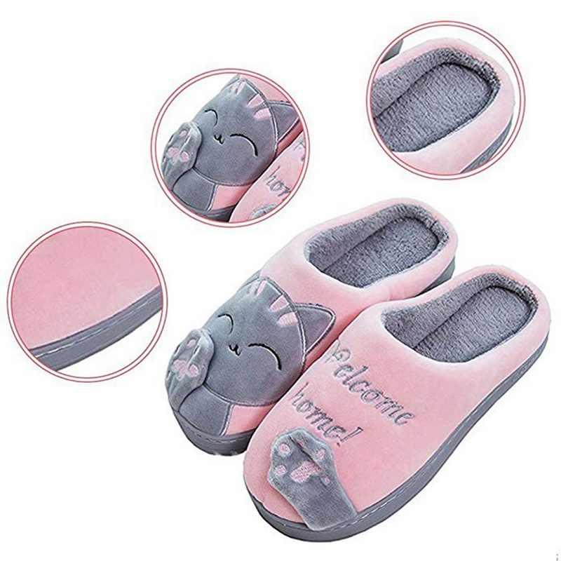 Милые Нескользящие зимние животного Для женщин тапочки домашние женские удобные тапочки женская обувь Хлопок комнатные женские тапочки Плюшевые Тапочки