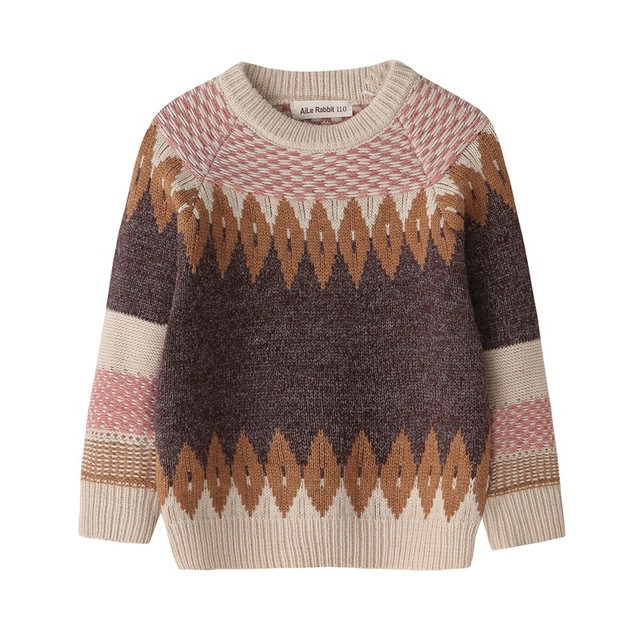 2018 autumn and winter casual children sweater boys and girls long-sleeved sweater bottoming geometric pattern fashion clothes