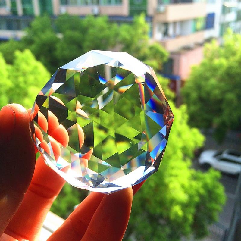 2Ppcs/lot 60mm pièces de lustre en cristal à facettes claires pendentif prismes boule déclairage clair Suncatcher décoration de la maison