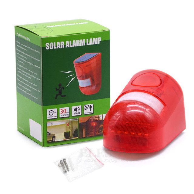 Solar Powered Infrared Motion Sensor Detector Siren Strobe Alarm System Waterproof 110dB Loud For Home Yard Outdoor Security 4