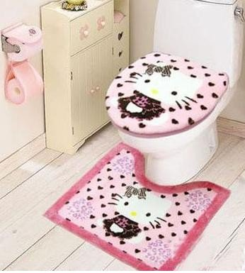 2422 Free Shipping Hello Kitty Bath Rug Mat Toilet Seat Cover 3pc Set