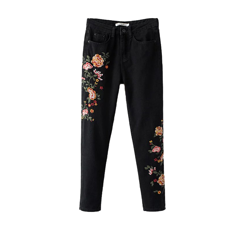 ФОТО  United States in the spring of 2017 new women's fashion fan all-match heavy flower embroidery Paige denim skinny pants