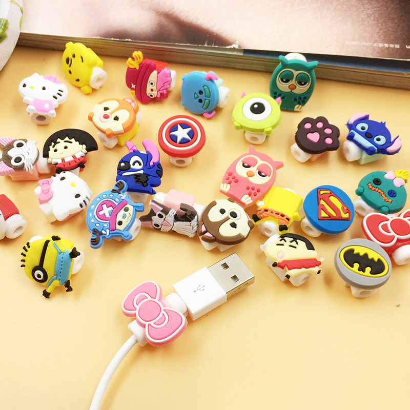 Universal Cartoon Cable Protector Cover Silicone Cartoon Figure Cable Winder Data Wire Organizer For Headphones Computer
