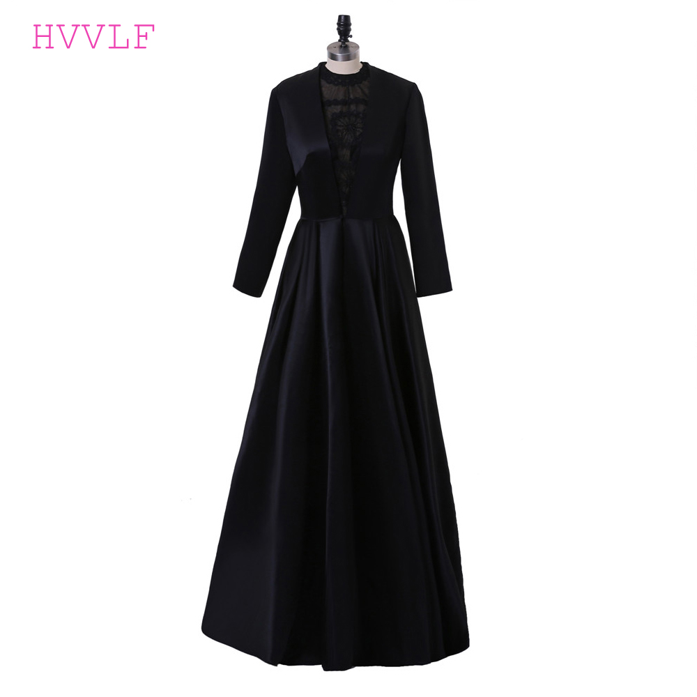Black 2019 Celebrity Dresses A-line High Collar Long Sleeves Lace Pearls Women Long Evening Dresses Red Carpet Dresses