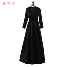 Black 2018 Celebrity Dresses A-line High Collar Long Sleeves Lace Pearls Women Long Evening Dresses Red Carpet Dresses