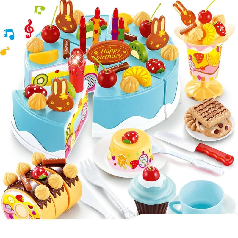 75pcs Diy Pretend Play Fruit Cutting Birthday Cake Pretend