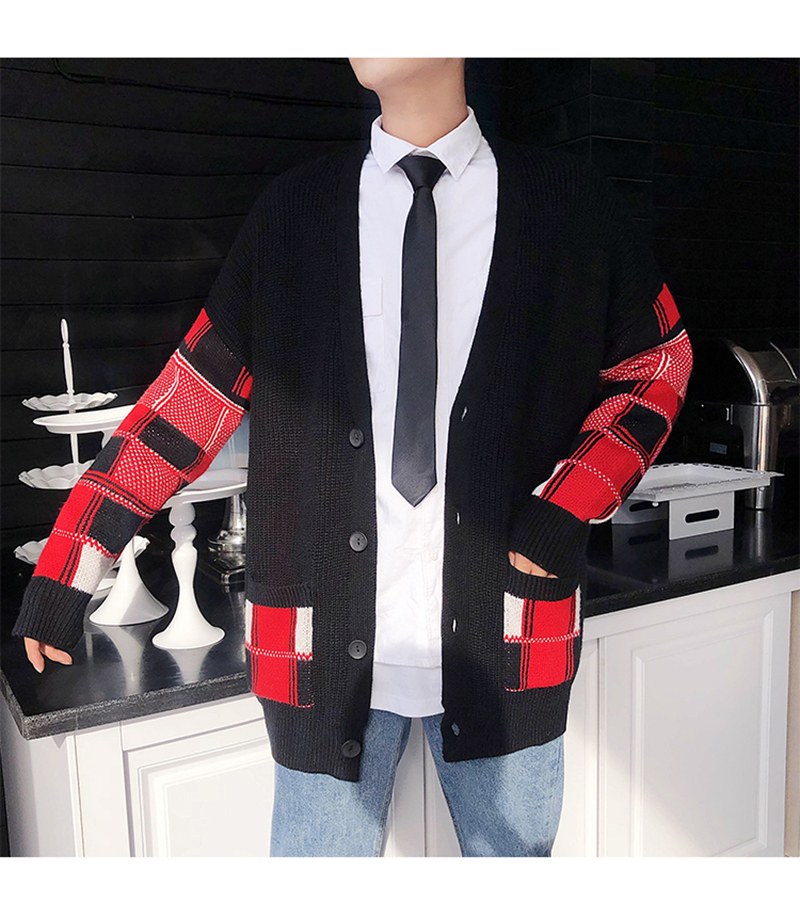 Korean Oversized Sweater Cardigan Men Plaid (20)