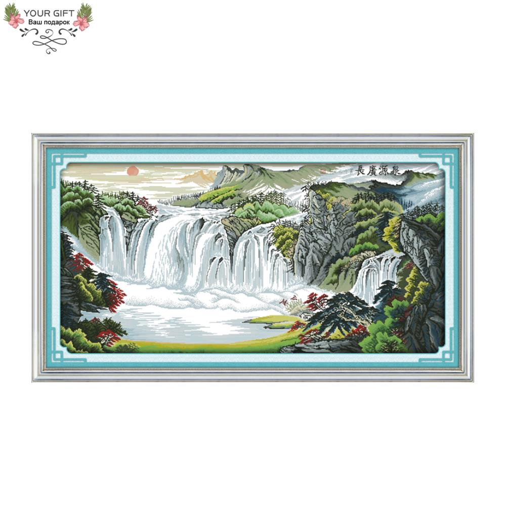 Your Gift F390 14CT 11CT Counted and Stamped Home Decor River And Mountains Needlework Needlepoint Embroidery Cross Stitch kits