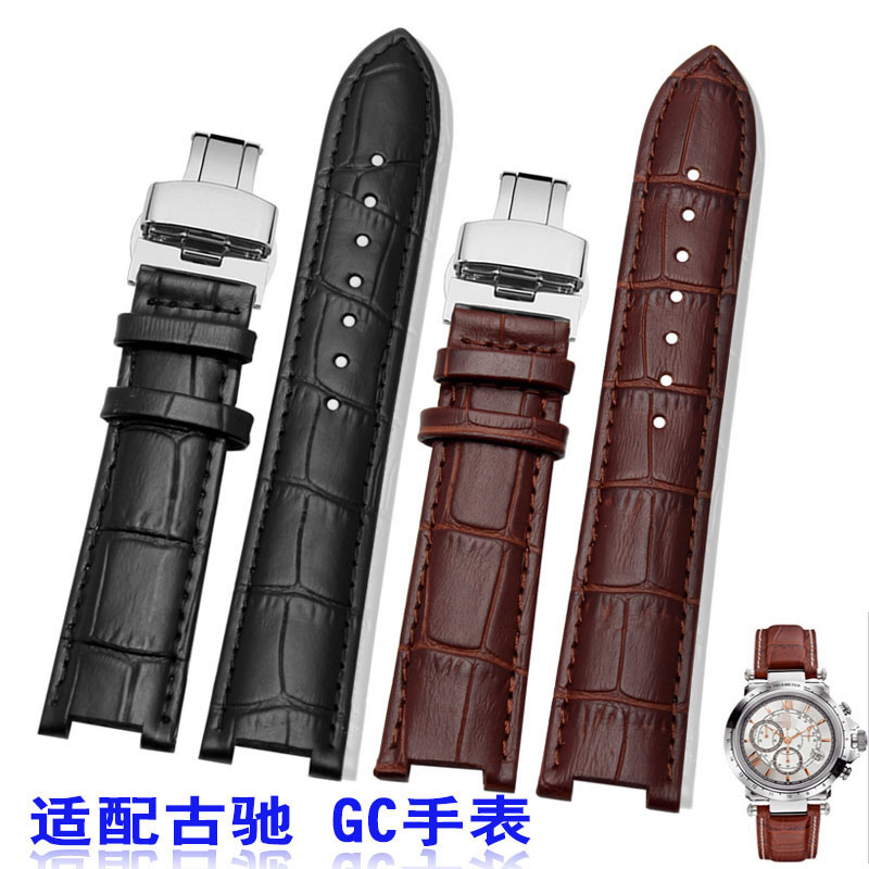 цены Genuine Calf Leather Watchband 16mm x 9mm 20mm x 11mm for GC Pasha Men Women Watch Band Butterfly Clasp Wrist Strap Black Brown