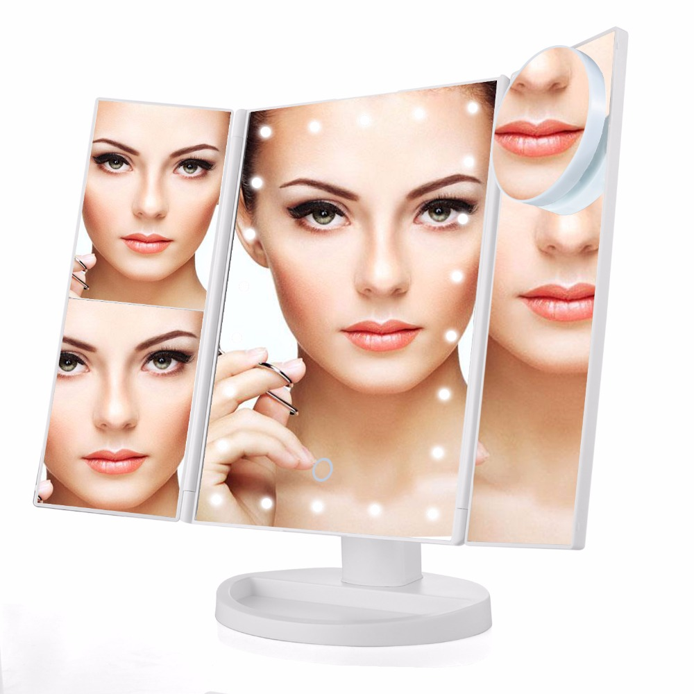 10X Magnifier LED Touch Screen Travel Vanity Mirror 3 Folding Table 21 LED Lights Professional Cosmetic Makeup Mirror