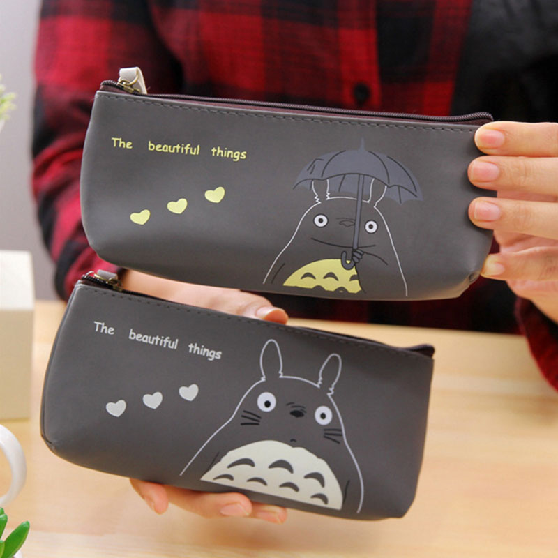 Cartoon Totoro school Pencil Case Cute PU waterproof Pen Bag box Kawaii Stationery Pouch Office School Supplies escolar zakka