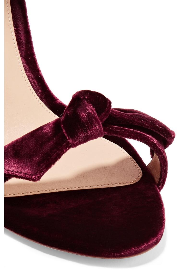 Talons Dames Robe ink Haut Chaussures Noeud Red Pink D'été black Hauts Ouvert Simple Green Velours Sandales Bowtie Wine Papillon À Bout Cheville Stiletto nude Femme RrCrYaxwq