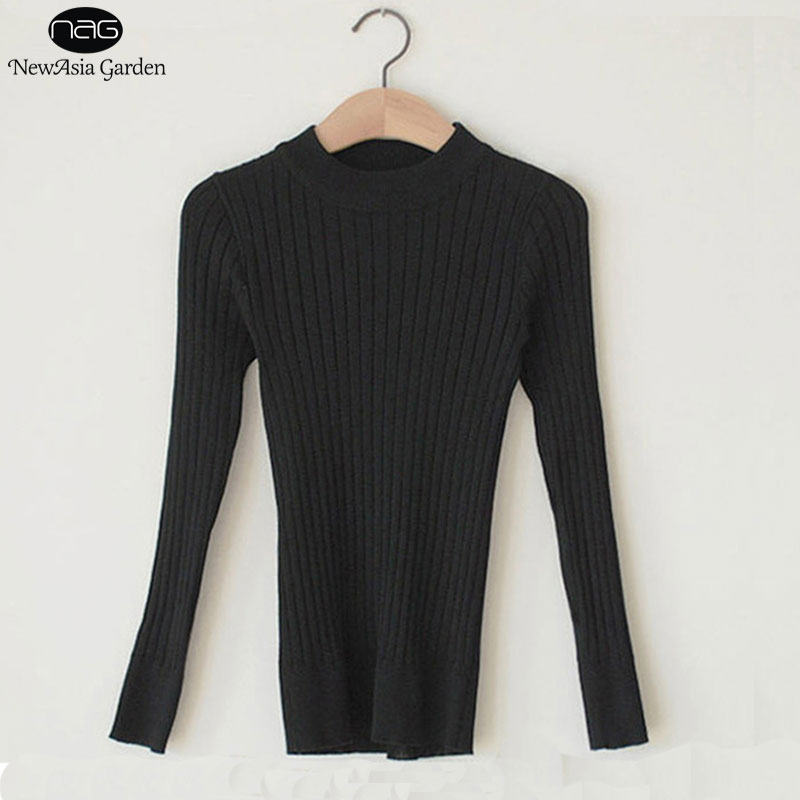 High Round Neck Women's Sweater Cable Knitted Long Sleeve Spring ...