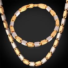 Oro amarillo y Plateado de Dos Tonos Hombres Joyería Pulsera Y Collar Set 55 CM 6 MM Cadena de la Joyería Set NH827