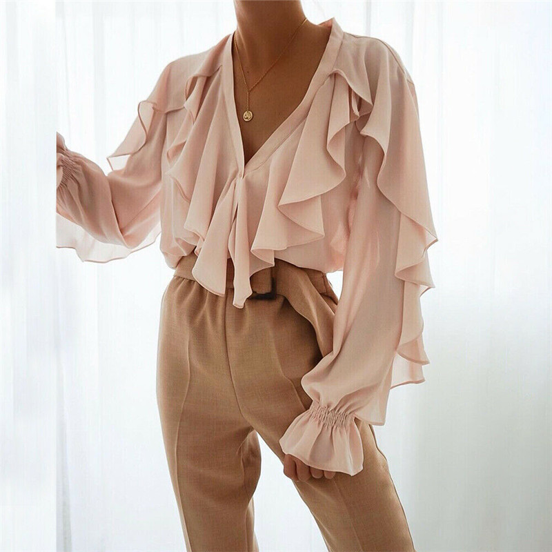 Women Ladies Chiffon Ruffle Bell Sleeve Loose   Shirt   Top Summer   Blouse   Tops UK