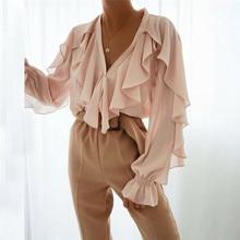 Women Ladies Chiffon Ruffle Bell Sleeve Loose Shirt Top Summer Blouse