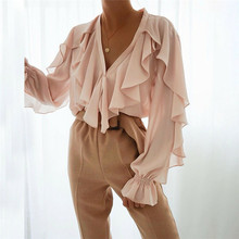 Women Ladies Chiffon Ruffle Bell Sleeve Loose Shirt Top Summ