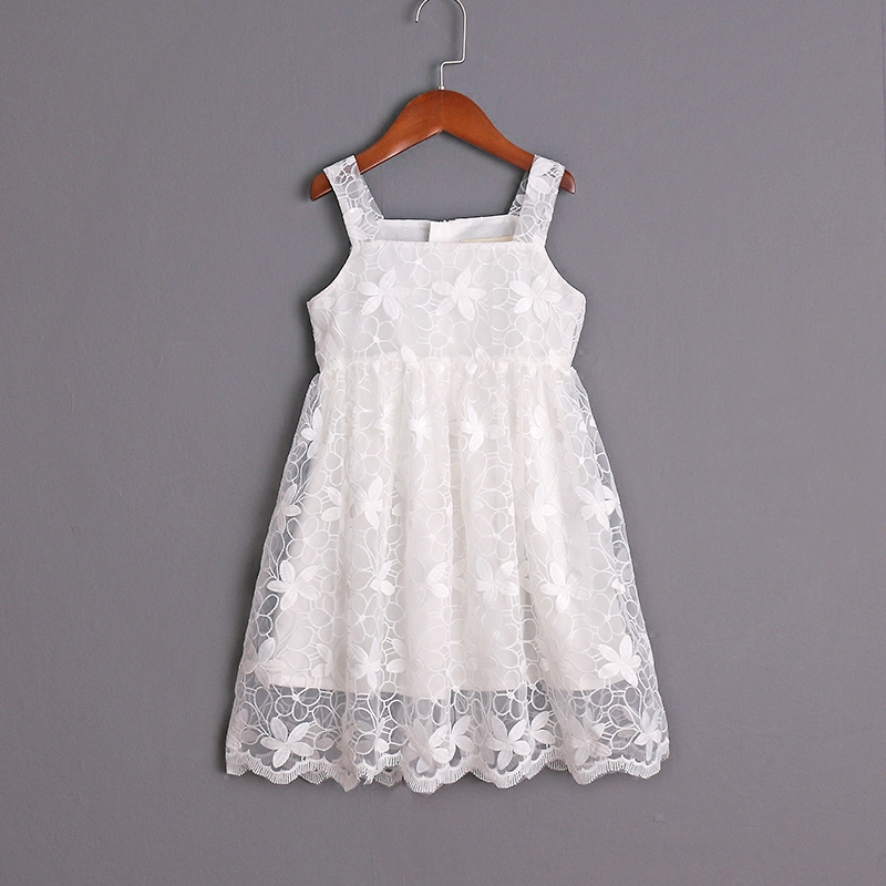 mom and daughter dress family matching look clothing girls organza pleated slip dress children Summer white birthday party dress