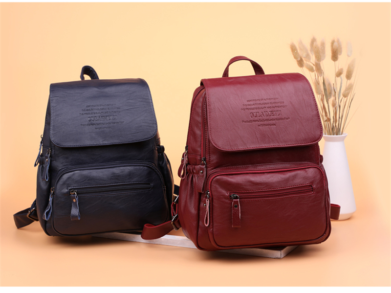 HTB1JRBGR9zqK1RjSZPcq6zTepXae 2019 Women Leather Backpacks High Quality Ladies Bagpack Luxury Designer Large Capacity Casual Daypack Sac A Dos Girl Mochilas