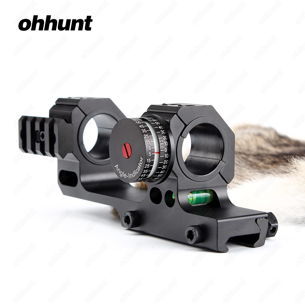 ohhunt High Accuracy 1 30mm Offset Bi-direction Picatinny Weaver Rings Scope Mount w/ Angle Cosine Indicator Kit and Bubb Level