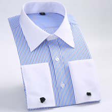5XL6XL Tuxedo Shirt French cuff shirts Men Shirts  New  Luxury Long Sleeve Brand Formal Business Fashion Dress shirts Plus size