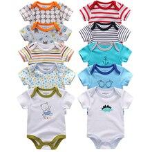 5 шт.; одежда для малышей; коллекция года; детские комбинезоны; хлопковые комбинезоны с короткими рукавами для маленьких мальчиков и девочек; комплект летней одежды для малышей
