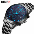 Top Brand Luxury BIDEN Men's Quartz-Watch Stainless Steel Band Black Clock Chronograph mens Watches relogio masculino esportiv