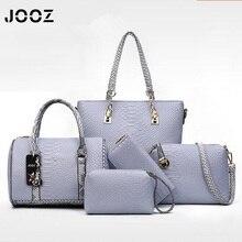 JOOZ Brand Serpentine Female Handbag 5 Pcs Composite Bags Set Women Shoulder Crossbody Messenger Bags Coin Purse Clutch Wallet