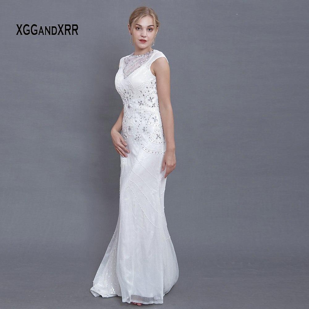 À la mode lourd perles de luxe sirène robe de soirée longues robes de bal 2018 Scoop Cap manches femme grande taille formelle robe de soirée - 2