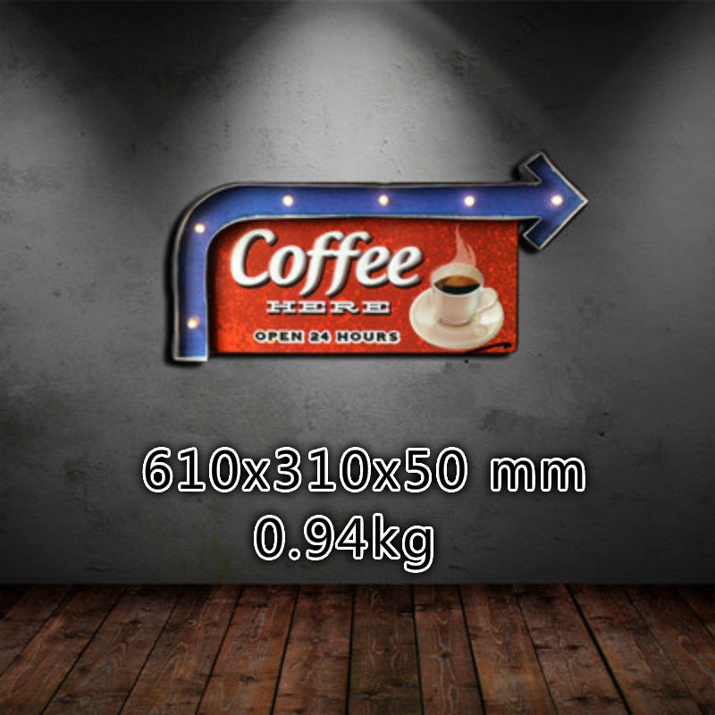 NEWRetro Style LED Night Light Indoor Bar Pendant Creative Three-dimensional Road Sign Metal Painting Wall Ornaments IY304125-10 metal bar led marquee sign light up vintage signs light bar indoor deration page 2