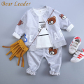 Bear Leader Baby Boy Clothes 2016 Autumn Baby Clothing Sets Litter Bear Embroidery Jackets+T-shirt+Bear Print Pants 3Pcs Suits