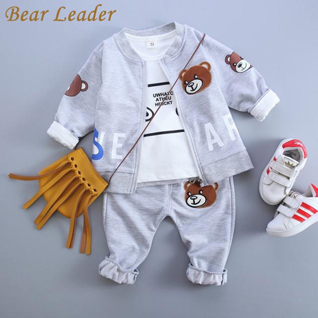 Bear leader do bebê conjuntos de roupas de bebê menino roupas 2016 outono urso ninhada bordado casacos + t-shirt + calças impressão urso 3 pcs ternos