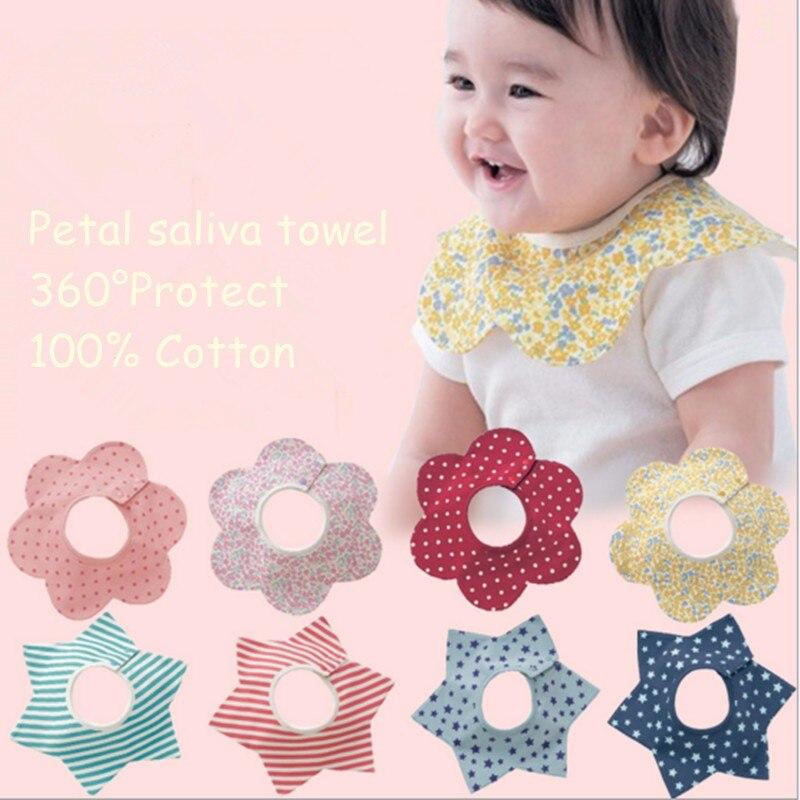 waterproof Flower Child Infants toddler Cotton Bibs babies Wipes Wraps Burps Cloth Scarf Bandage neckerchief muffler shawl