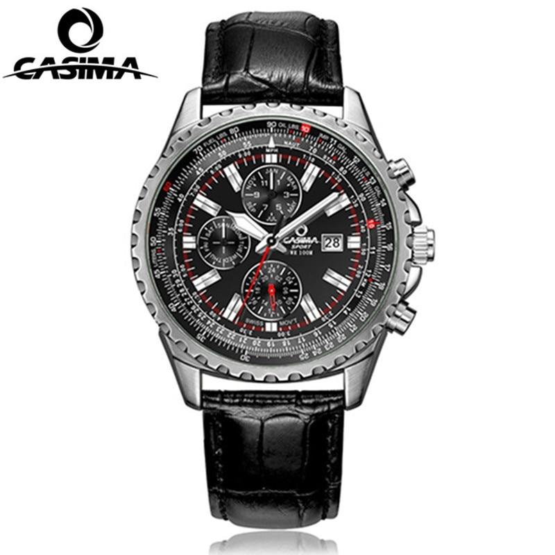 Люксовый бренд CASIMA часы мужские водонепроницаемые 100 м кварцевые часы моды классические мужские кожаные спортивные часы relogio мужской