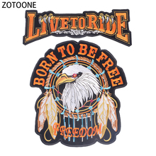ZOTOONE Live To Ride Iron on Patches for Clothing Eagle Beaded Appliques Large Embroidered Back DIY Clothes Decoration E