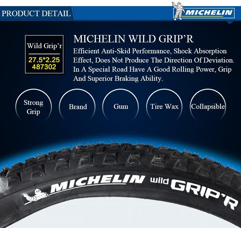 Michelin Wild Grip/'r 27.5 x 2.25 Folding Tubeless Mountain Bike Tire 720g 110tpi