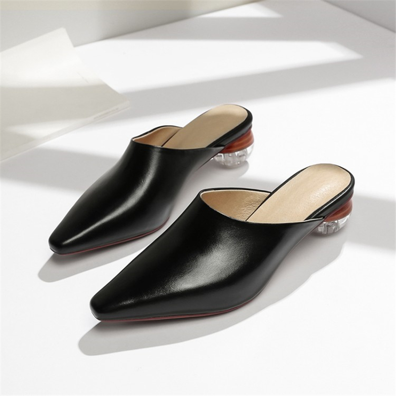 Ouqinvshen Transparent Women Mules Genuine Leather Concise Fashion Solid Black Women Slippers Summer Pointed Toe Ladies Slippers