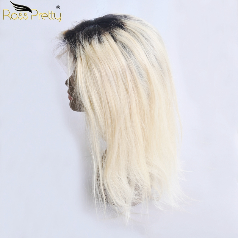 Ombre Blonde Brazilian Straight Lace Frontal Wigs Brazilian Human Hair Lace Wigs Soft and Silky Color 1b/613 Ross Pretty Hair