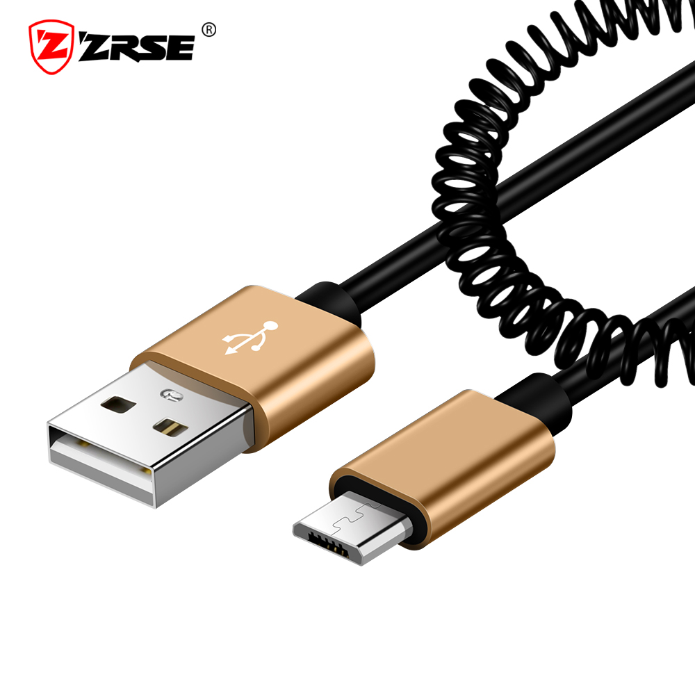 ZRSE Spring Micro USB Cable Flexible Elastic Stretch Data Sync Charging Cable For Samsung Xiaomi Redmi Huawei Mobile Phone Cable