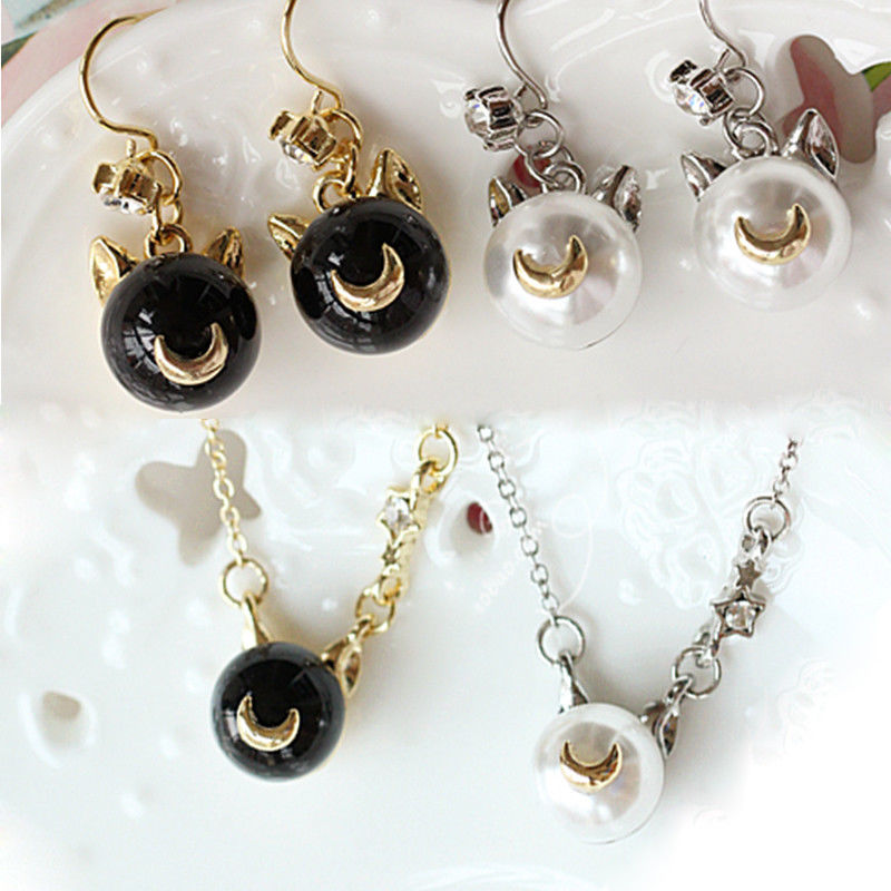 4PCS Anime Sailor Moon Cute Luna Cat Black White Pearl Pendant Necklace + Dangle Drop Earrings Cosplay Jewelry Collectible Gift