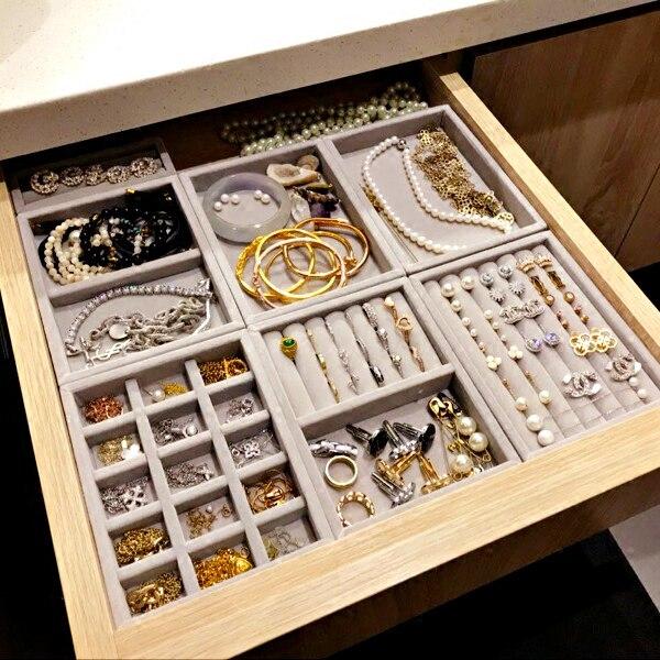 Nova gaveta diy jóias bandeja de armazenamento anel pulseira caixa de presente jóias organizador brinco titular tamanho pequeno caber a maioria espaço sala