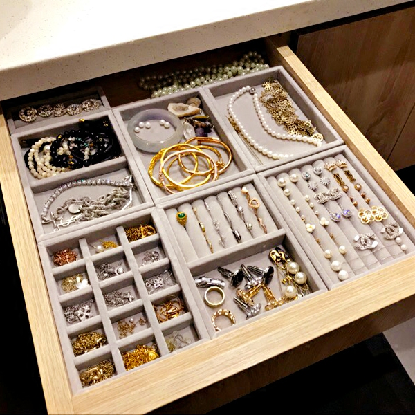 Nuevo cajón de la joyería de DIY bandeja de almacenamiento de pulsera de anillo de caja de regalo de joyería organizador pendiente pequeño tamaño más espacio de la habitación