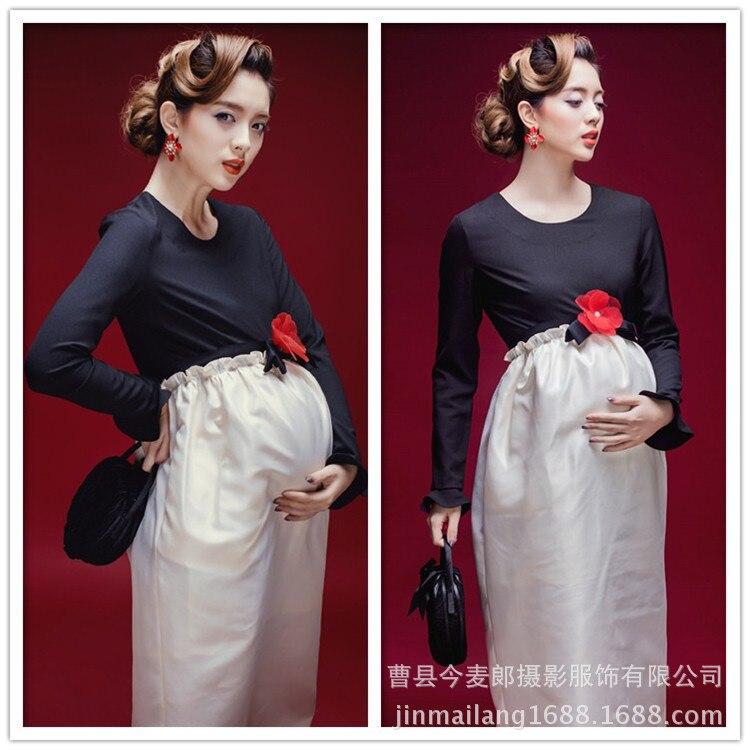 ФОТО Pregnant Photography Props Elastic Dress Photo Shoot Baby Shower Gift Studio Patchwork flower pattern maternity dress